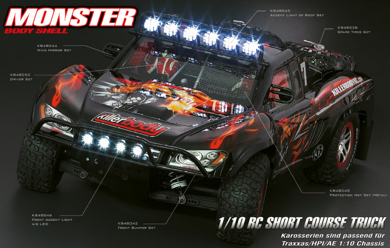 Short Course Truck Karosserie Monster 1/10 Karosserie